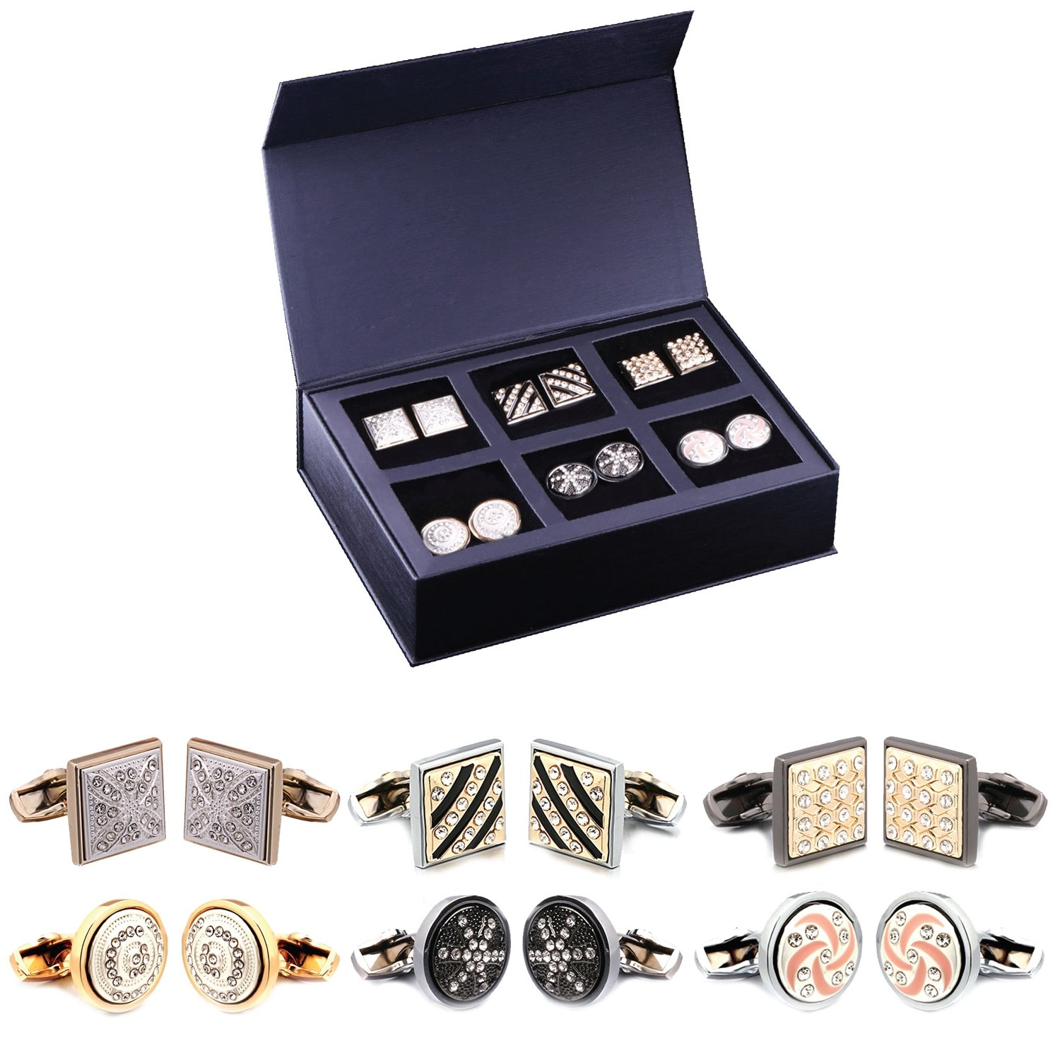 1920s Mens Accessories: Gloves, Spats, Pocket Watch, Collar Bar BodyJ4You 12PC Cufflinks Button Shirt Men Black Silvertone Goldtone Jewelry Set Gift Box 6 Pairs $29.90 AT vintagedancer.com