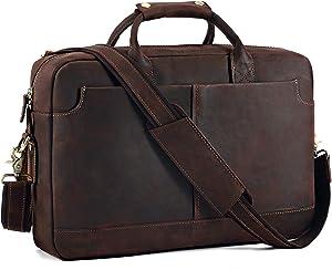 """Kattee Vintage Genuine Leather 15.6"""" Laptop Briefcase Messenger Bag Coffee"""