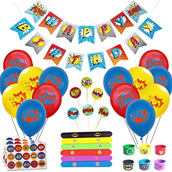 Juego de decoración de cumpleaños de superhéroes (31 Piezas) - Globos de Colores con pancartas de superhéroes y pancartas de superhéroes, decoración ...