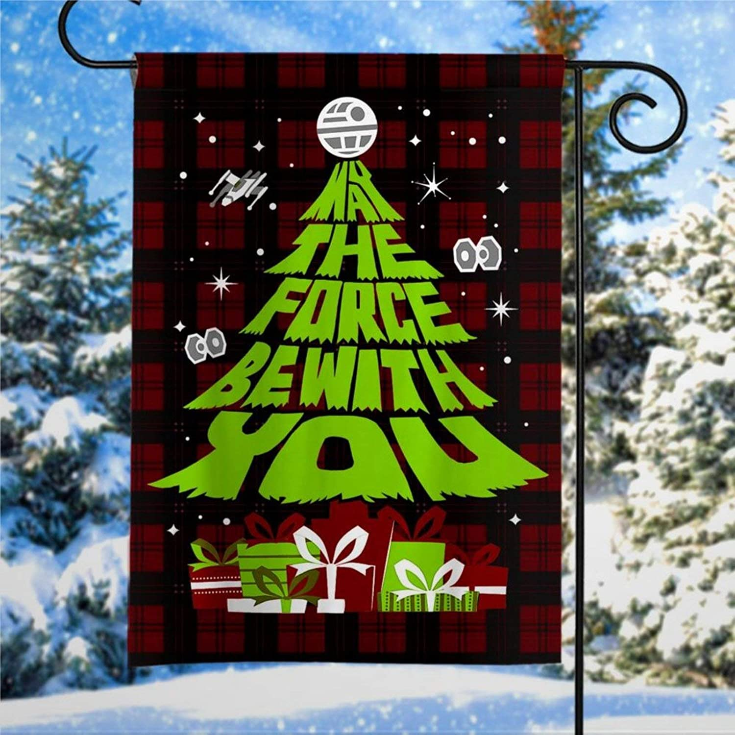 Star Wars May The Force Be With You Christmas Tree Garden Flag Outdoor Christmas Decoration Custom Christmas Flag Christmas Flag Yard Flag Farmhouse decor Yard Holiday Seasonal Outdoor Decor