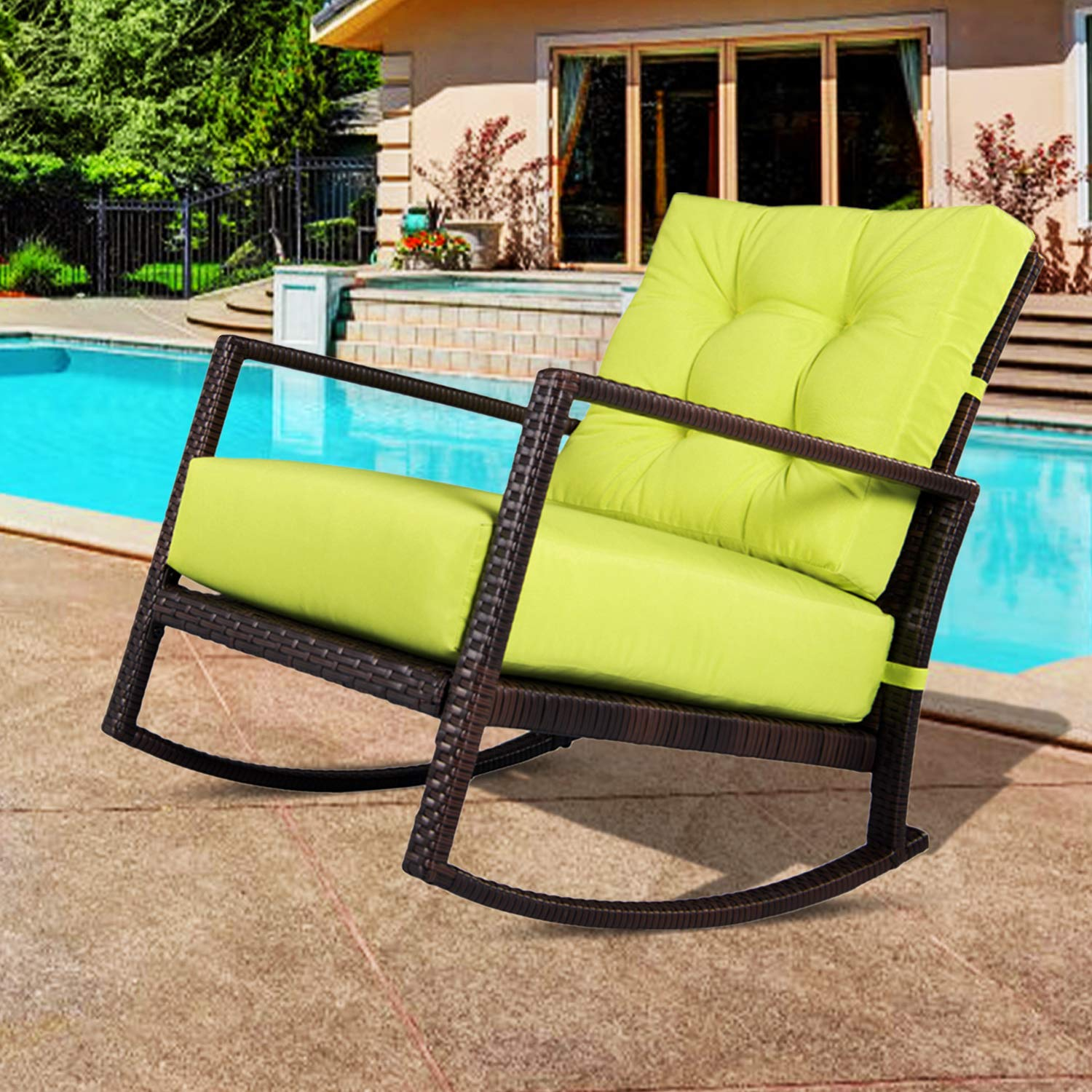 Amazon Com Outroad Rocking Wicker Chair Green Lounge Chair With