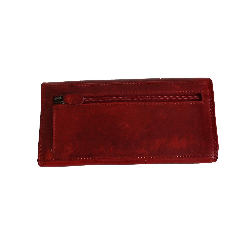 HILL BURRY hochwertige  Geldbörse für Damen aus echtem Leder schwarz V102
