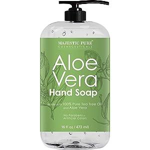 Majestic Pure Aloe Vera Liquid Hand Soap - Multi Purpose Hand Wash with Therapeutic Tea Tree, Spearmint & Peppermint Oils, Pump Dispenser, Sulfate Free - 16 fl oz