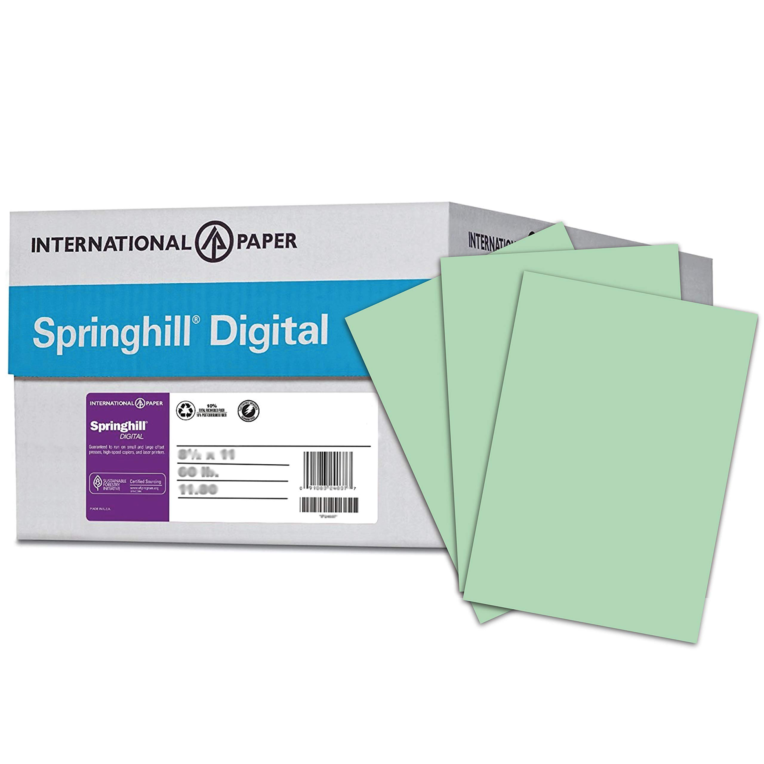 Springhill Colored Paper, Cardstock Paper, Green Paper, 65lb Paper, 176 gsm, Letter Size, 8.5 x 11 Paper, 10 Ream Case / 2,500 Sheets, Opaque Card Stock, Thick Paper (014050C) by Spring Hill