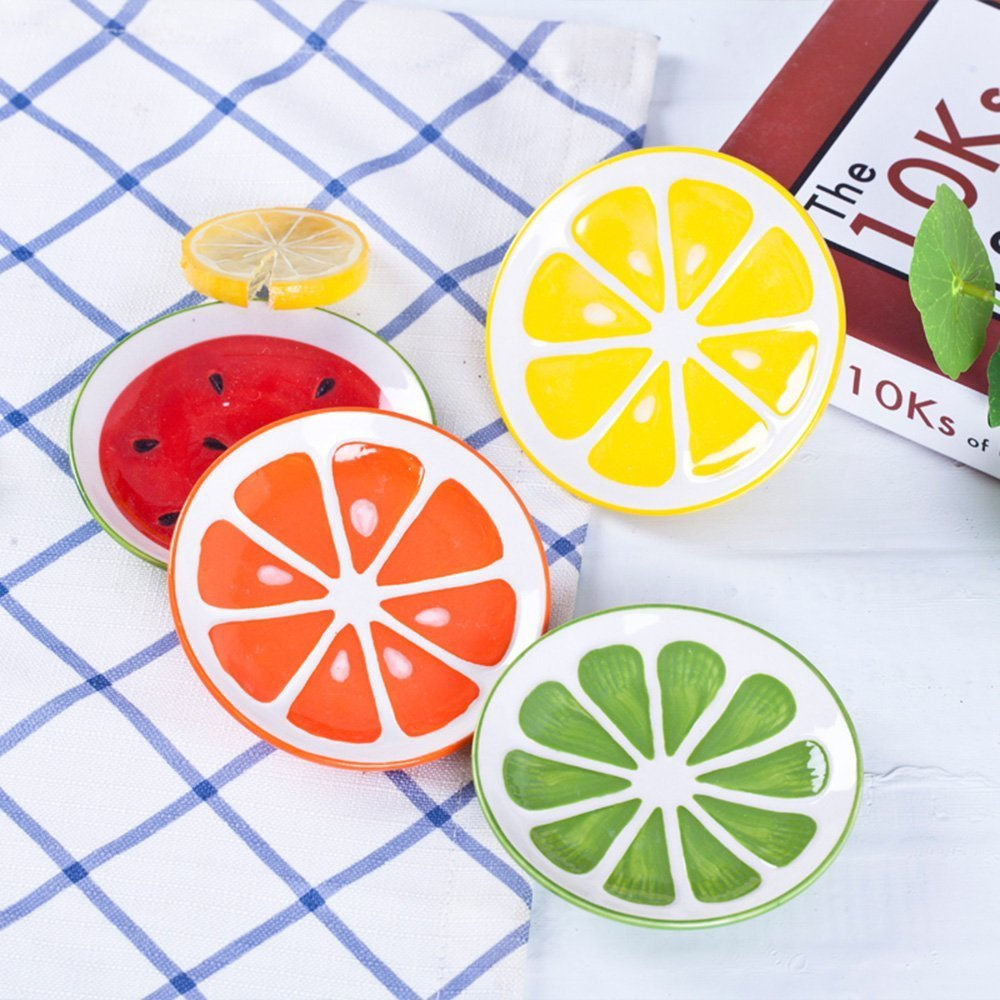 XDOBO 4Pcs Cute Fruit Pattern Ceramics Seasoning Dishes/Tea Bag Holders/Ketchup Saucer/Appetizer Plates/Vinegar Spice Salad Soy Sushi Wasabi Seasoning Dipping Bowls/Chili Oil by xdobo (Image #9)