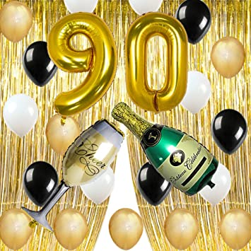 Gold 90th Birthday Party Decorations Supplies Foil Fringe Curtains Backdrop Props Champagne Bottle Wine