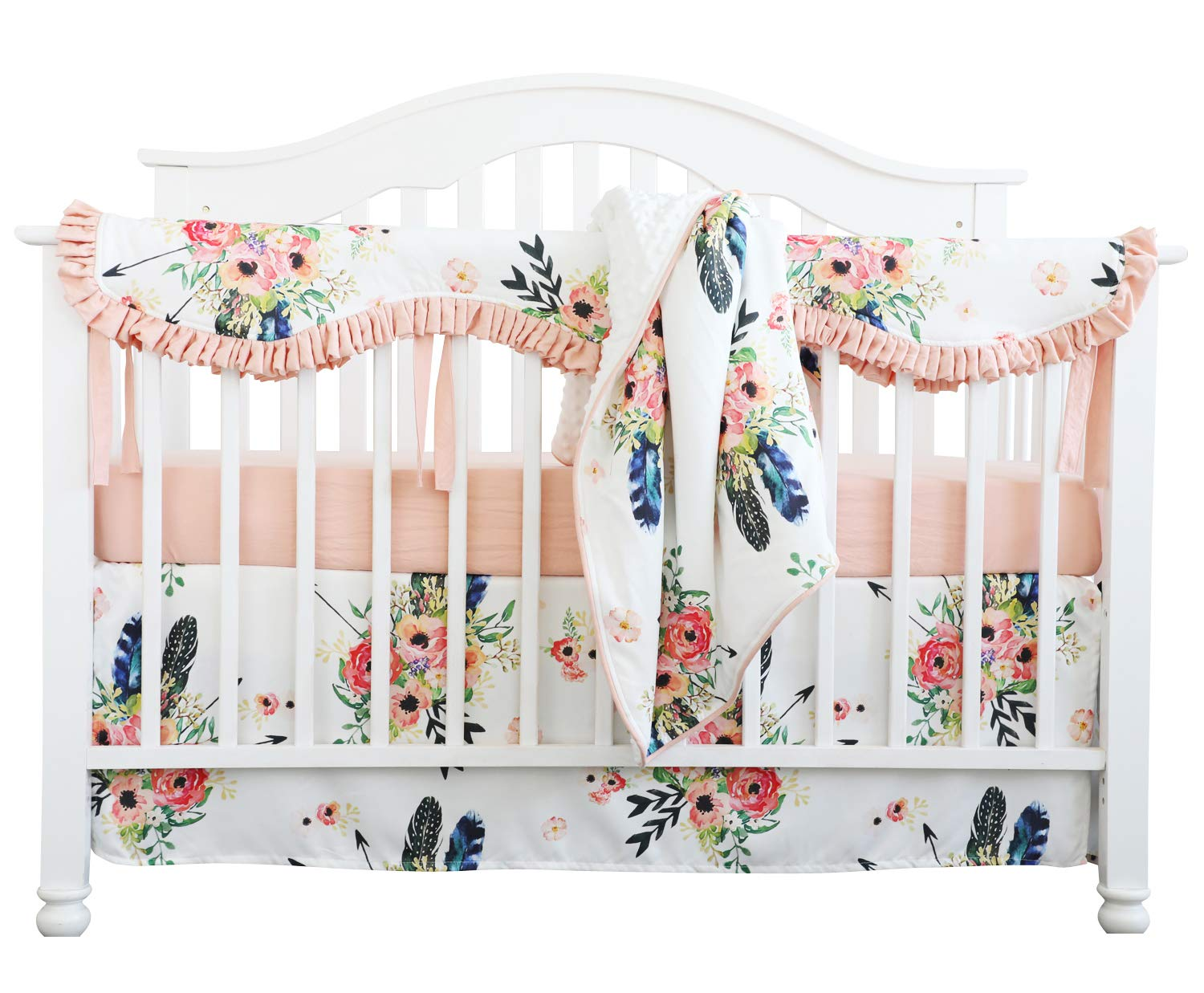 Crib Rail Guard Set Boho Floral Nursery Baby Bedding Ruffled Crib Skirt Crib Rail Cover Set (Ruffle Feather Floral) by Sahaler