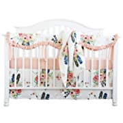 Sahaler Crib Rail Guard Set Boho Floral Nursery Baby Bedding Ruffled Crib Skirt Crib Rail Cover Set (Ruffle Feather Floral)