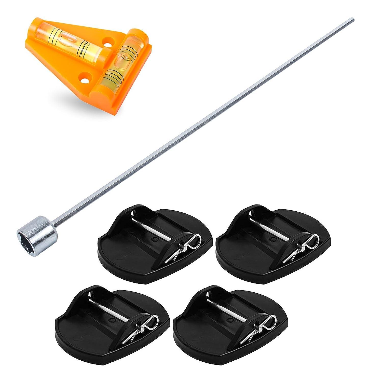 Pro Plus - Piastre di sostegno + avvitatore a batteria + livella a croce per camper o roulotte