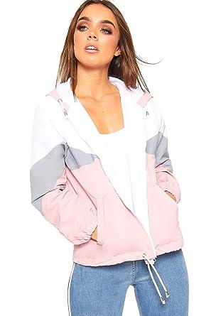 cd546d389 WearAll Women's Contrast Panel Hooded Windbreaker Jacket Ladies Zip Coat  Top Long Sleeve 8-14