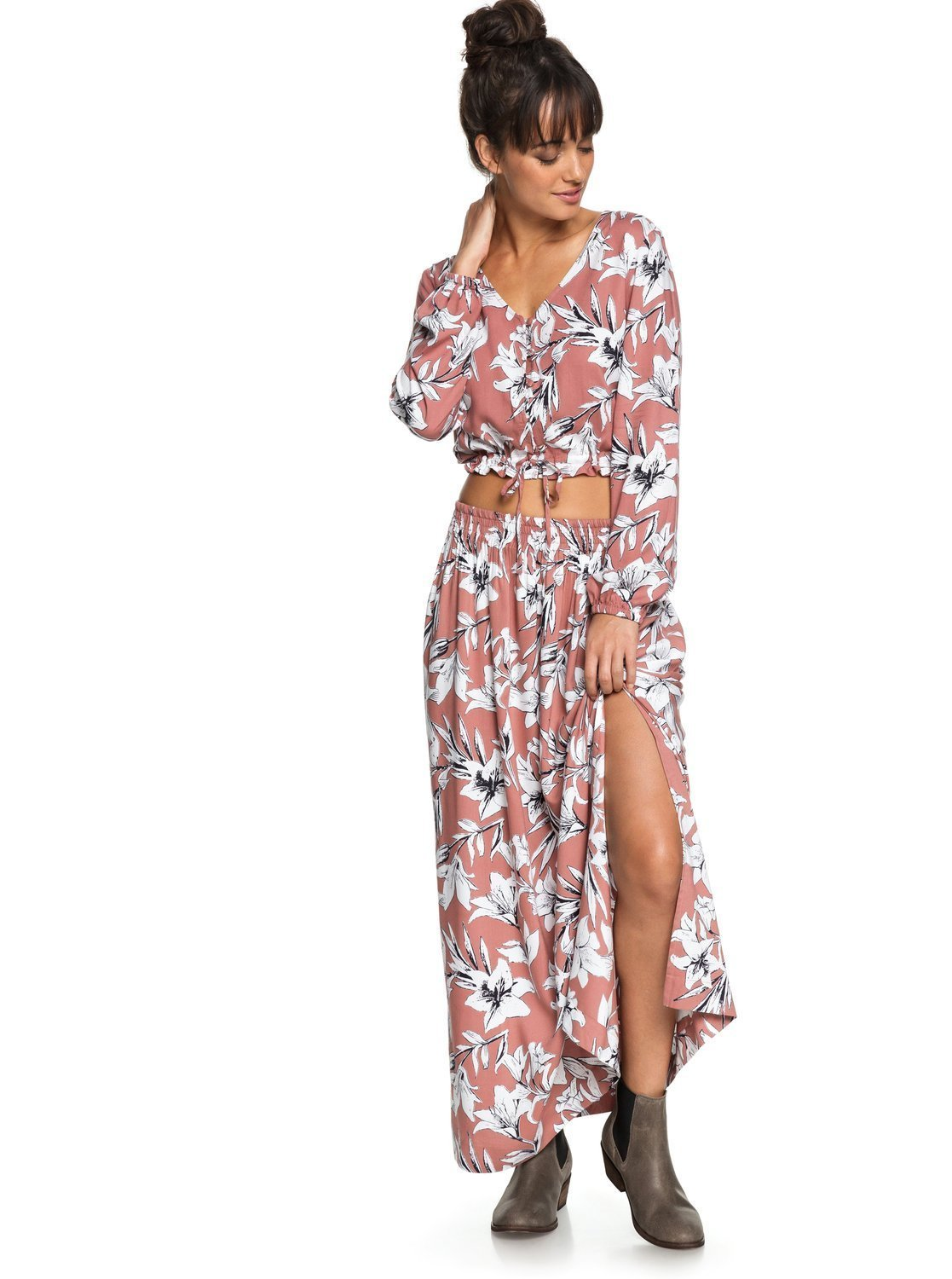 Roxy Junior's Last Forever Skirt, Withered Rose Lily House, M