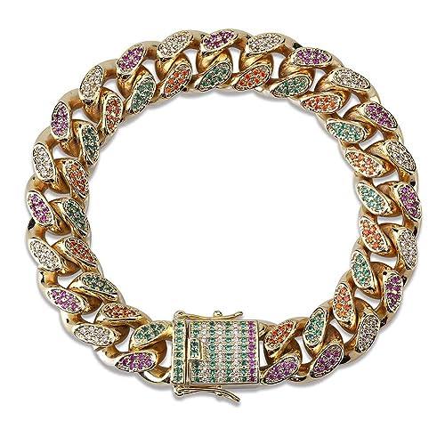 Amazon.com  LC8 Jewelry Men 14mm 18mm Width Luxury Bracelet Hip Hop Iced Out  Diamond Bling Colorful CZ Miami Cuban Link Chain Bracelet d4a6da157f48