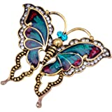 Alilang Womens Antique Golden Tone Turquoise Red Vintage Butterfly Brooch Pin