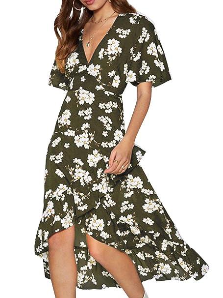 Frauen Vintage Boho lange Maxi Kleid Party Strand Kleid rückenfreie Sommerkleid