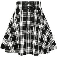 IDEALSANXUN Women's Elastic Waist Aline Plaid Midi Skirt