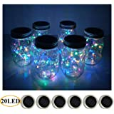 6 Pack Mason Jar Lights 20 LED Solar Colorful Fairy String Lights Lids Insert for Patio Yard Garden Party Wedding…