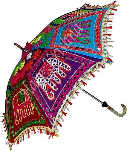 Hare Krishna Paraguas de algodón Sombrilla de Verano Colorida 61 x 71 cm: Amazon.es: Hogar