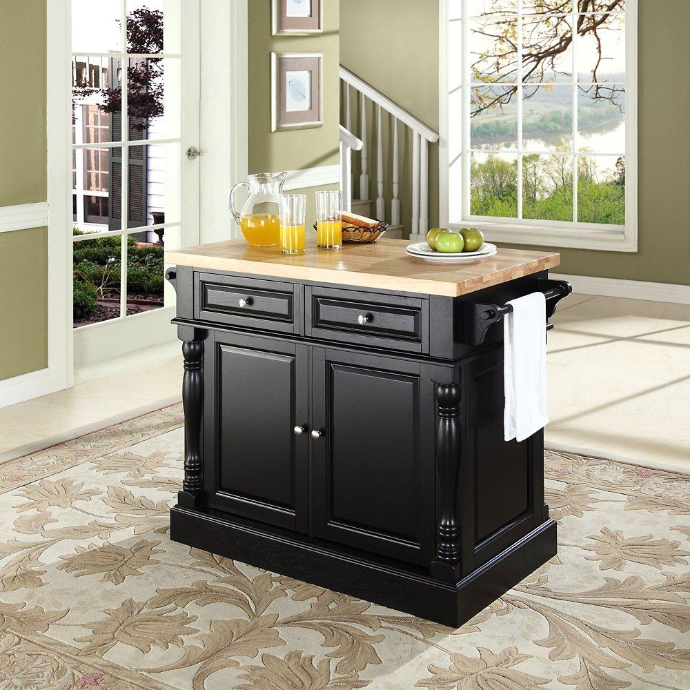 amazon com crosley furniture kitchen island with butcher block amazon com crosley furniture kitchen island with butcher block top black kitchen islands carts