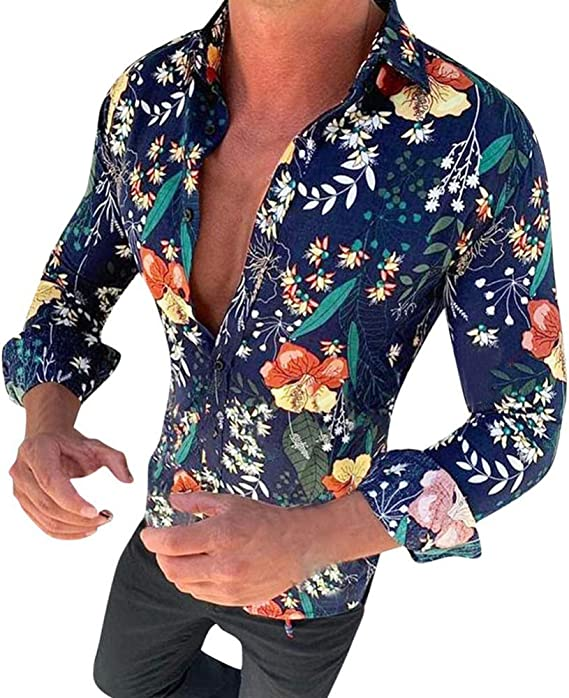 Sxgyubt Camisa de ocio para hombre con estampado de ...