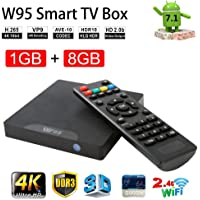 Android 7.1 Smart TV Box- VGROUND W95 Android TV Box with Amlogic S905W Quad-Core, 1GB RAM 8GB ROM, 4K UHD, Built-in Wi-Fi & LAN VP9 DLNA H.265