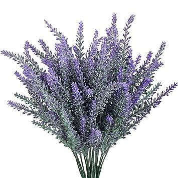 BESTUNE Flores Artificiales, Fores Color Púrpura para Jardín Oficina Hogar Ventana Patio Boda Exterior Decoración Interior-10 Paquetes: Amazon.es: Hogar