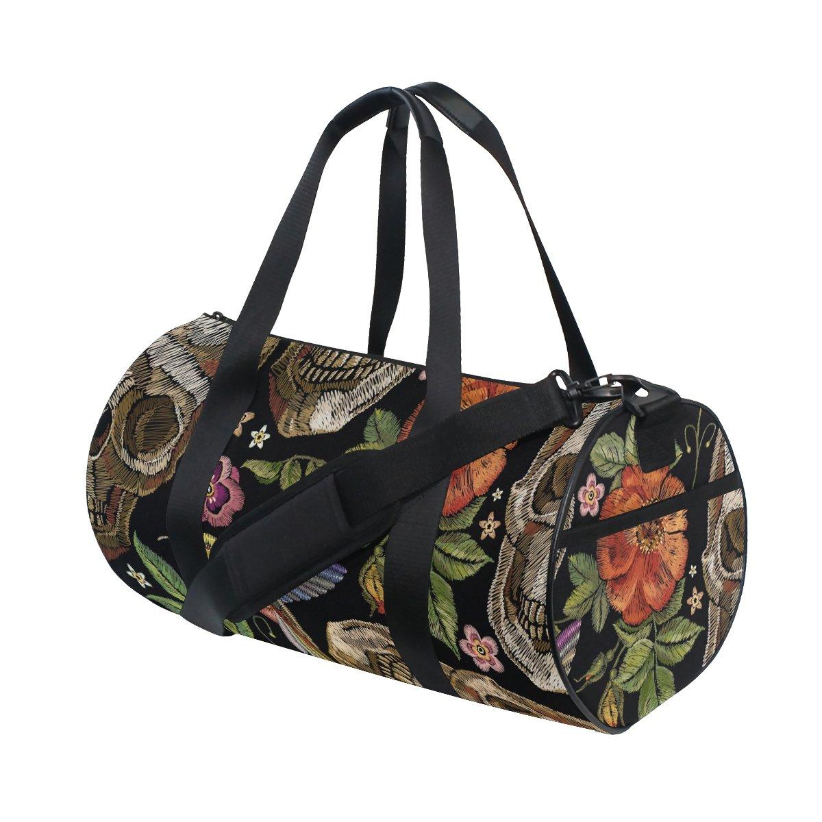 Naanle Gothic Embroidered Skull Rose Hummingbird Gym bag Sports Travel Duffle Bags for Men Women Boys Girls Kids