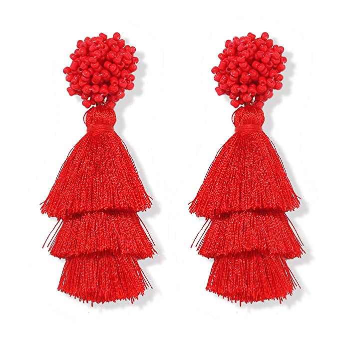 Heidkrueger Layered Tassel Earrings Bohemian Tiered Thread Long Fringe Tassel Drop Dangle Earring Statement Beaded Stud Earring For Women Gifts by Heidkrueger