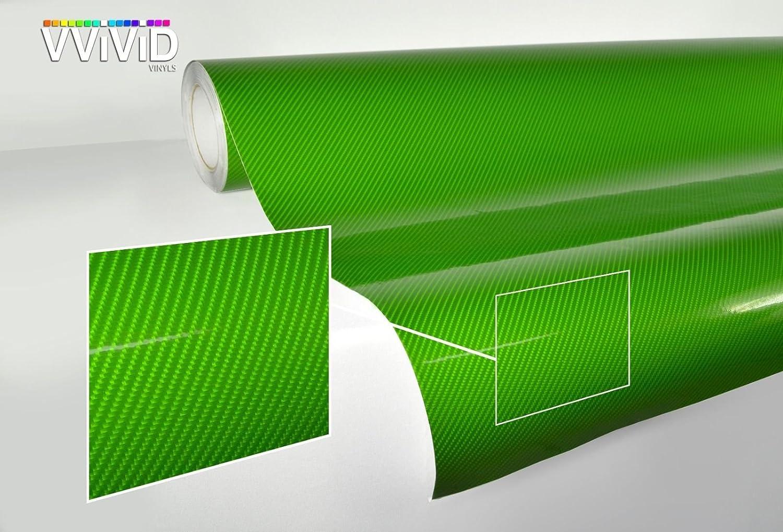 VViViD TechArt Green Carbon Fibre High Gloss Vinyl Wrap Twill Weave Adhesive Film 1 Foot x 5 Feet Roll Air Release Decal Sheet