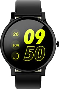 """Mintsin 1.3"""" LCD Display Touch Screen Fitness Tracker Watch with Heart Rate and Sleep Monitor, Notification Smartwatch Compatible with 2019 Version Android and iOS (Black PU Leather Watchband)"""