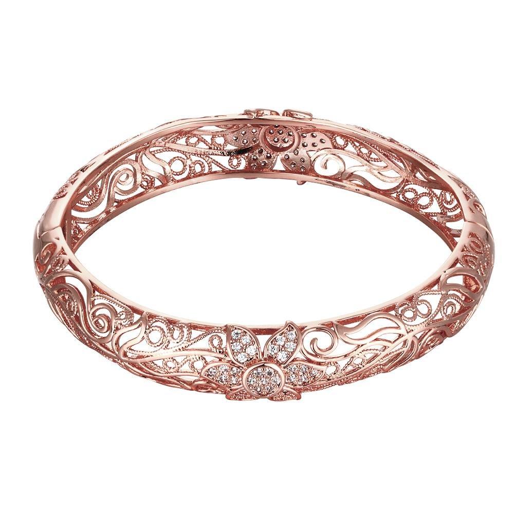BODYA Rose Gold Plated Bangle Cubic Zirconia Crystal Filigree Flower Openwork Cuff Bracelet Wrist Decor Cuff JY0177