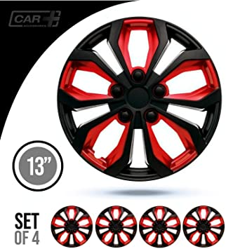 RED and Black Set of 4 Marina Bay,16 Universal Fitment Easy to install 16 inch Hubcaps