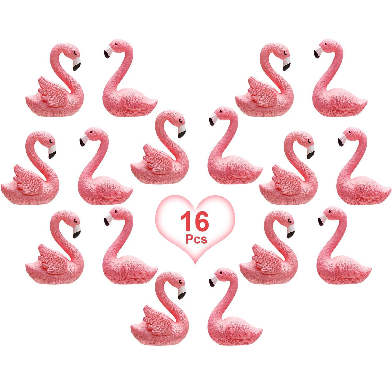 16 Pieces Mini Flamingo Miniature Figurines Fairy Garden Miniature Moss Landscape DIY Ornament Accessories (2 Styles), Cake Decoration, Micro Landscape Decoration, Car Decoration, Home Decoration