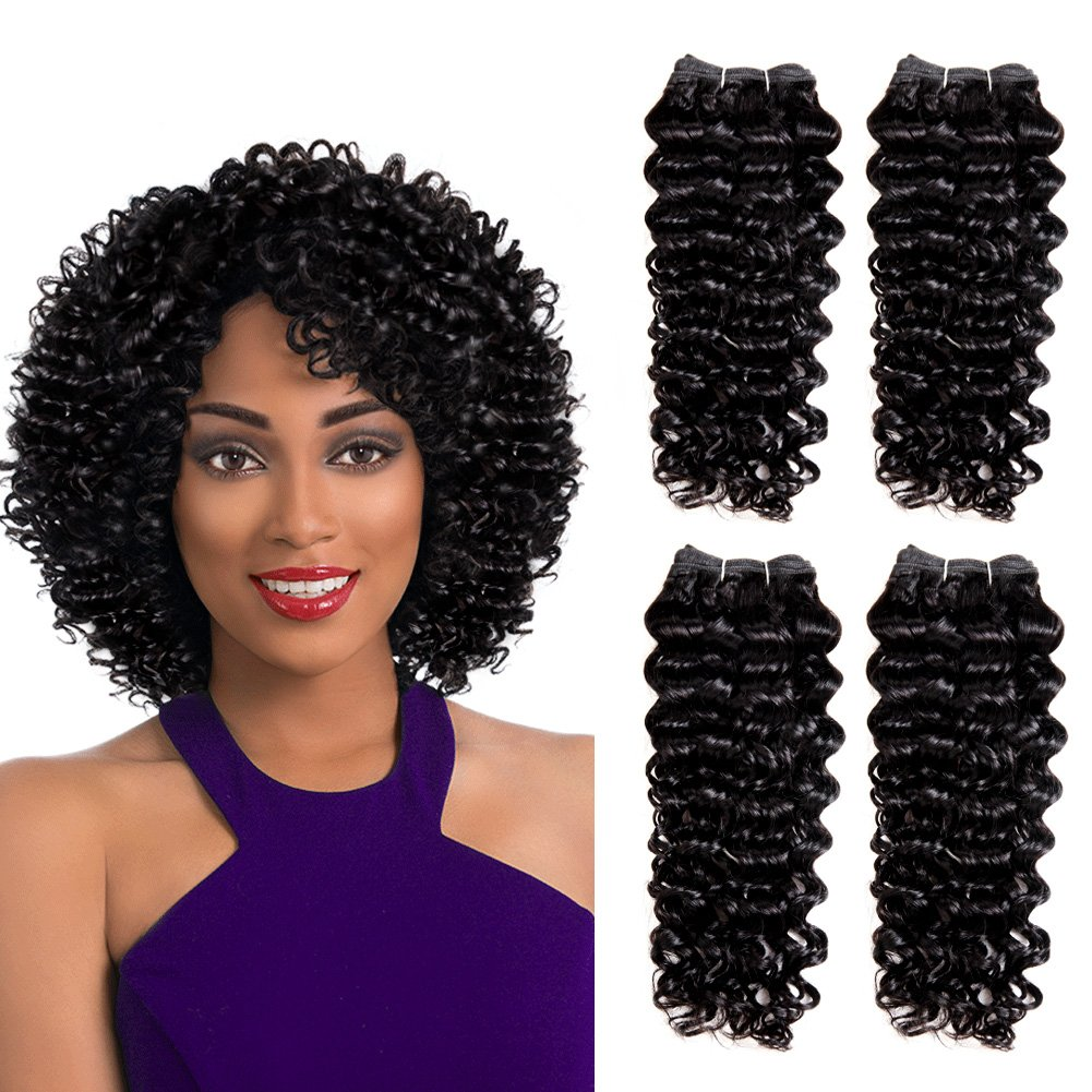 Amazon Sleek 4 Bundles Of Short Jerry Curl Weave Human Hair 8