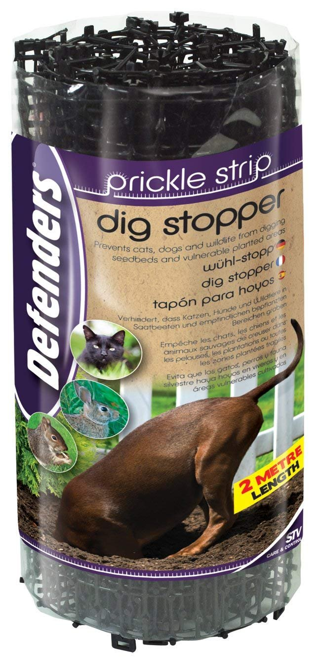 Defenders Prickle Strip Dig Stopper (Weather-Resistant Strips, Deters Cats, Dogs and Wildlife from Digging, Protects Plants in Gardens) 28 cm x 2 m STV International STV628