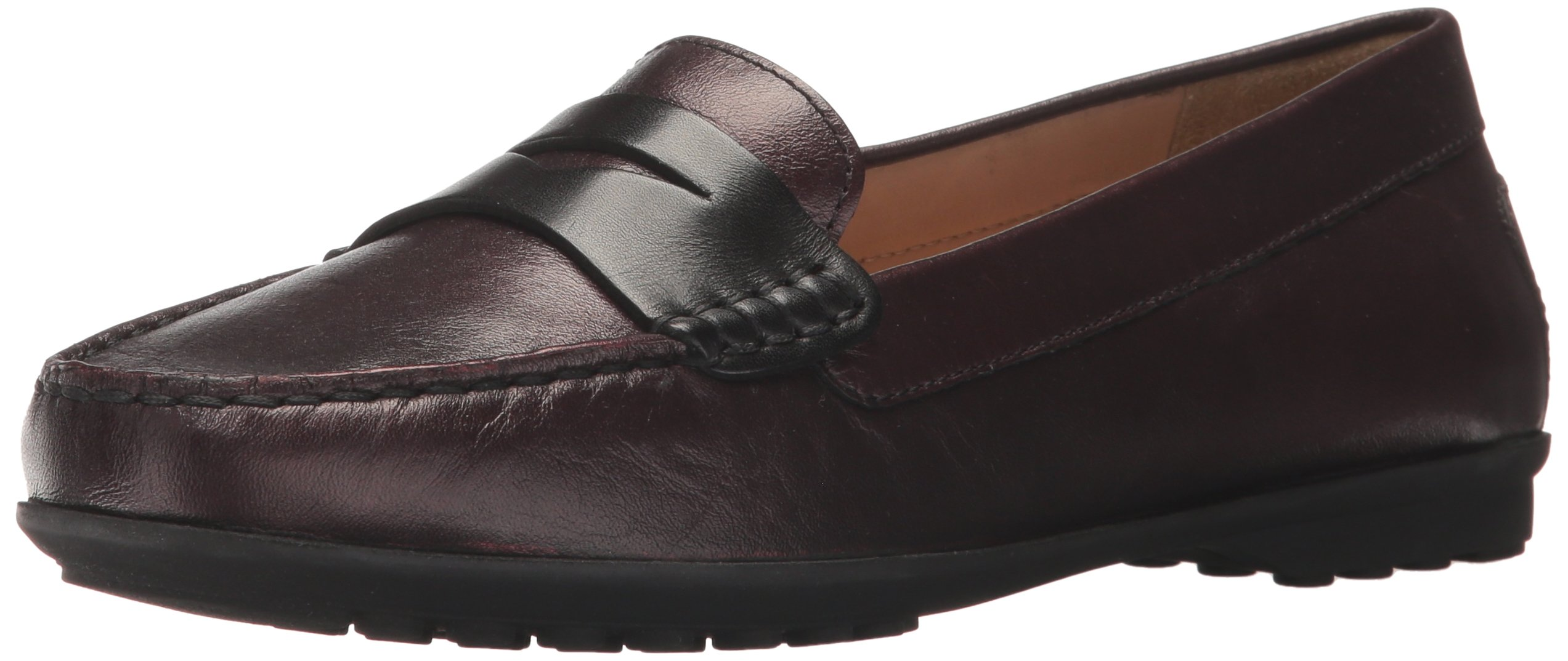 Geox Women's Elidia 5 Slip-On Loafer, Dark Burgundy/Black, 36.5 EU/6.5 M US