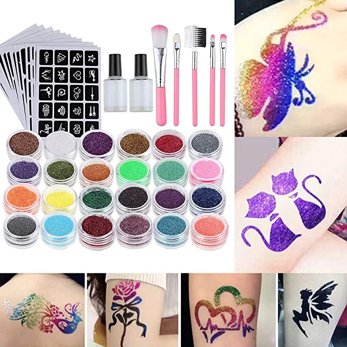 Glitter Body Art Paquete de 120 Tatuajes con Purpurina para ni/ñas