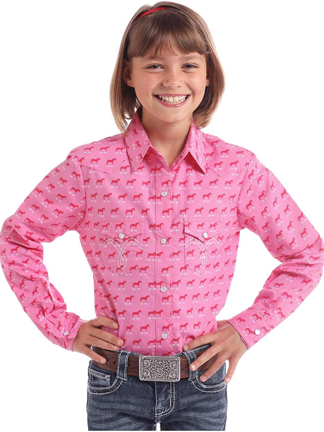 Panhandle White Label Girls Long Sleeve Snap Shirt Horse Print Rose XX-Large