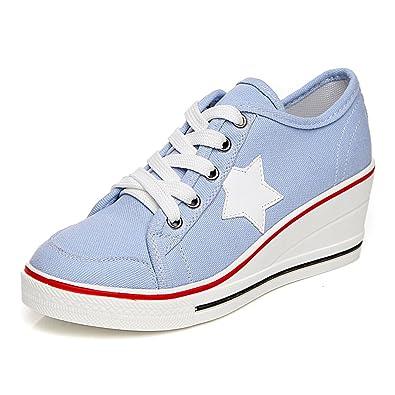 382722899817 Femme Baskets Mode en Toile Talon Compense Chaussures de Sport Fermeture  Lacets ,#3 Bleu