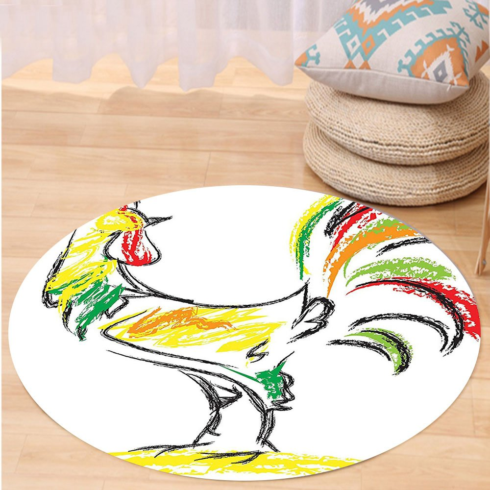 VROSELV Custom carpetGallos Decor Collection Rooster Chicken Tail Farm Animal Oil Pencil Drawing Effect Child Children Artwork Bedroom Living Room Dorm White Yellow Red Round 72 inches