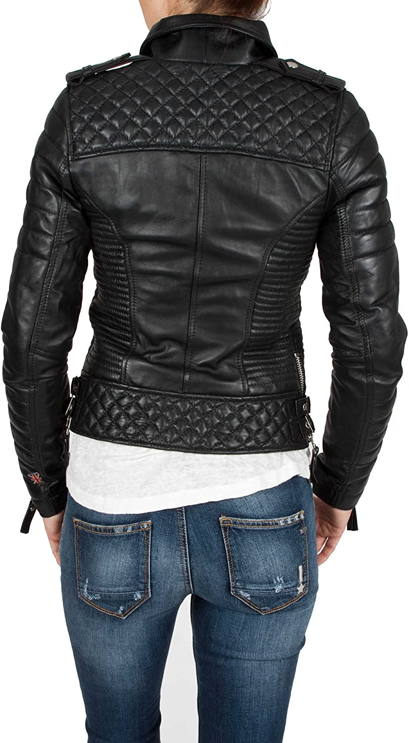 Aries Leathers Women New Biker Real Lambskin Leather Jacket WJ04