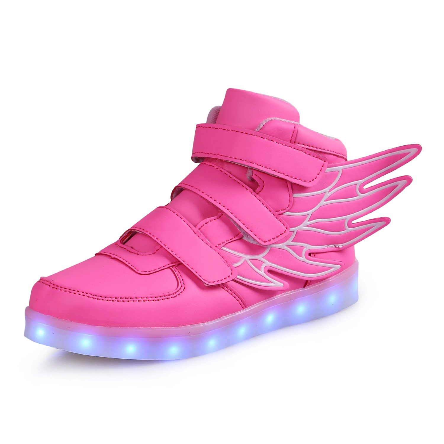 LED Light Up Shoes with Wings Kids Girls High Top Boots Boys Breathable Flashing Sneakers for Christmas