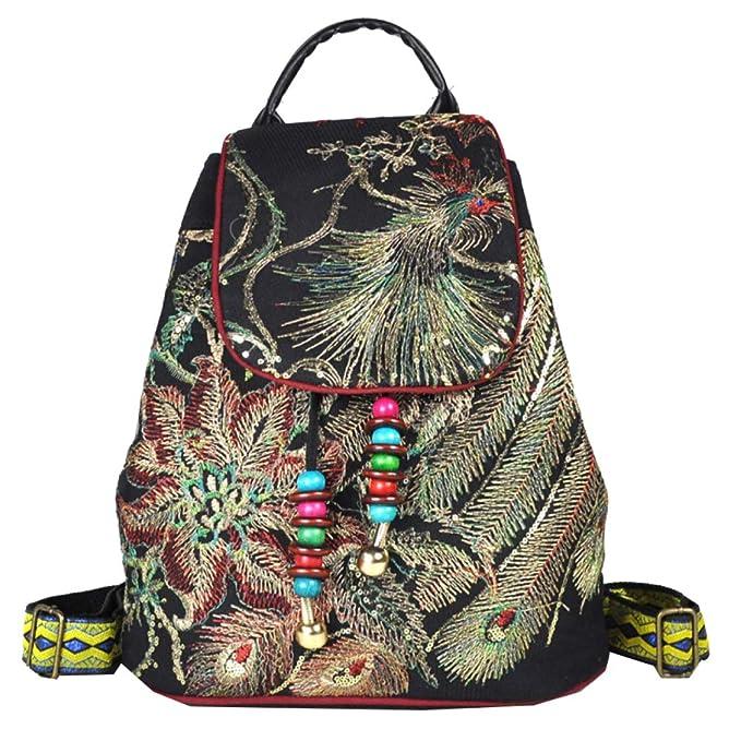 Bolso Femenino Original Bordado étnico Bolso Bordado Phoenix Lona Mochila,Black-34 * 30 * 17cm: Amazon.es: Ropa y accesorios