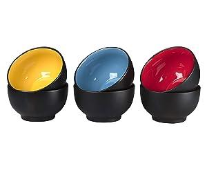 Klikel 6 Pack of Soup Bowls - Dishwasher And Microwave Safe Ceramic Bowl Set - Black With Color Inside - Large 18oz - 5 1/2 Inch Round