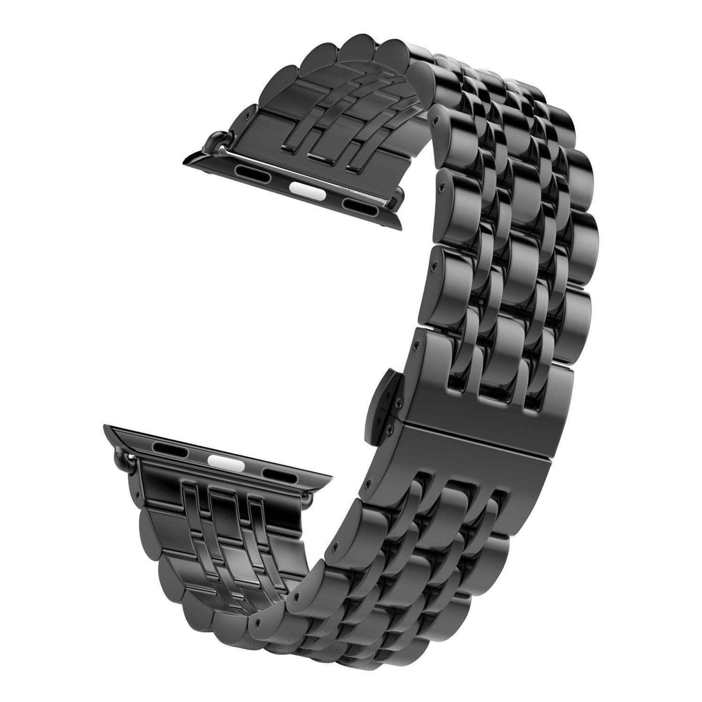 Apple Watchバンド、ステンレススチールメタル交換バンドバタフライバックル付きApple Watchシリーズ2シリーズ1  ブラック 38mm B074W9JZ51