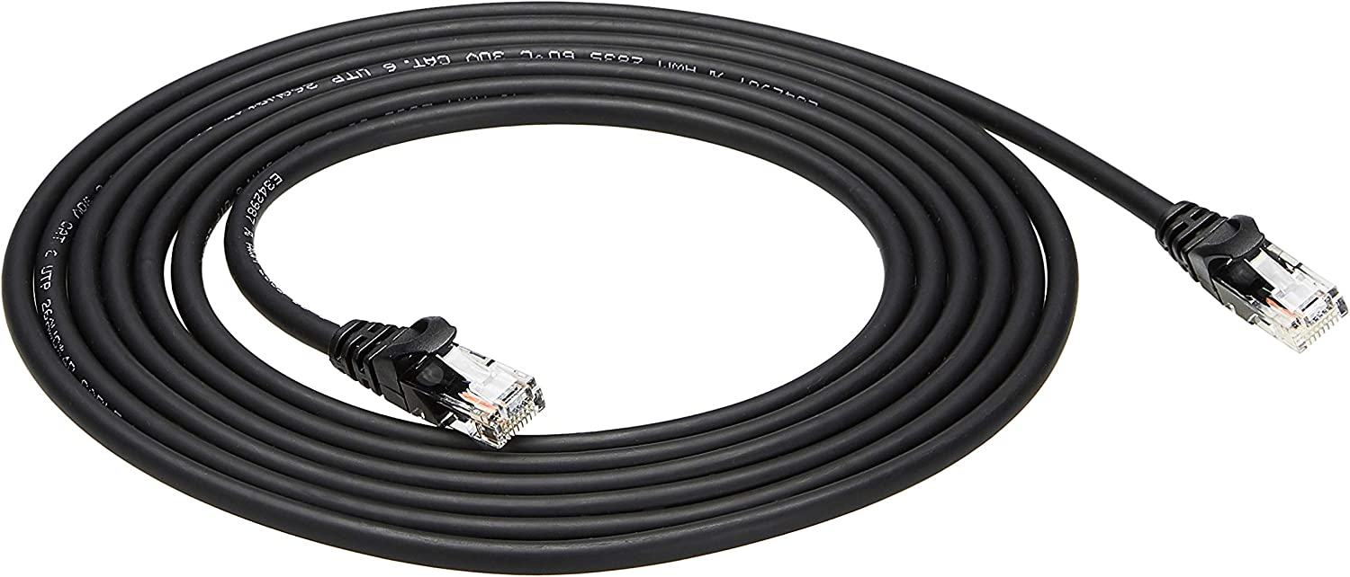 AmazonBasics Snagless RJ45 Cat-6 Ethernet Patch Internet Cable - 10-Foot, Black, 5-Pack