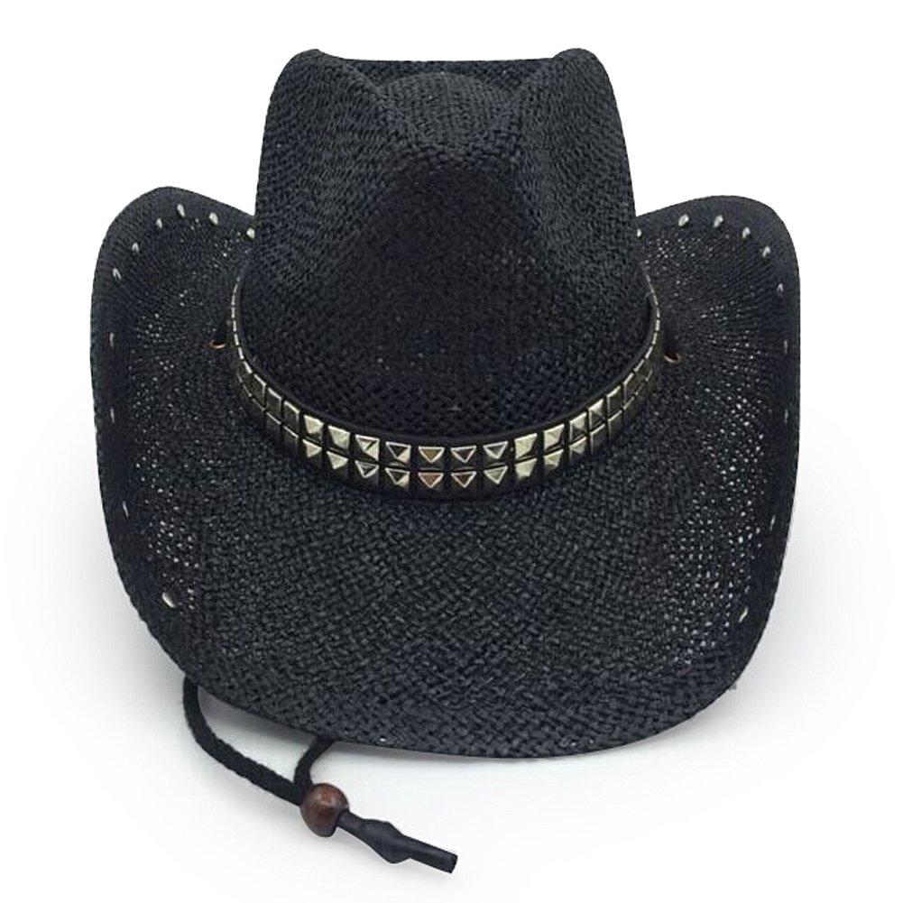 Mens /& Womens Western Classic Cowboy Straw Hat black2