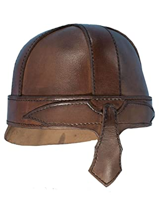 Casco Warrior de piel LARP Casco piel negro o marrón Guerrero Medieval Vikingo marrón Talla: