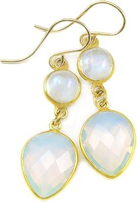 Opalite teardrop earrings Silver Iridescent dangle earrings Rainbow moonstone dangle