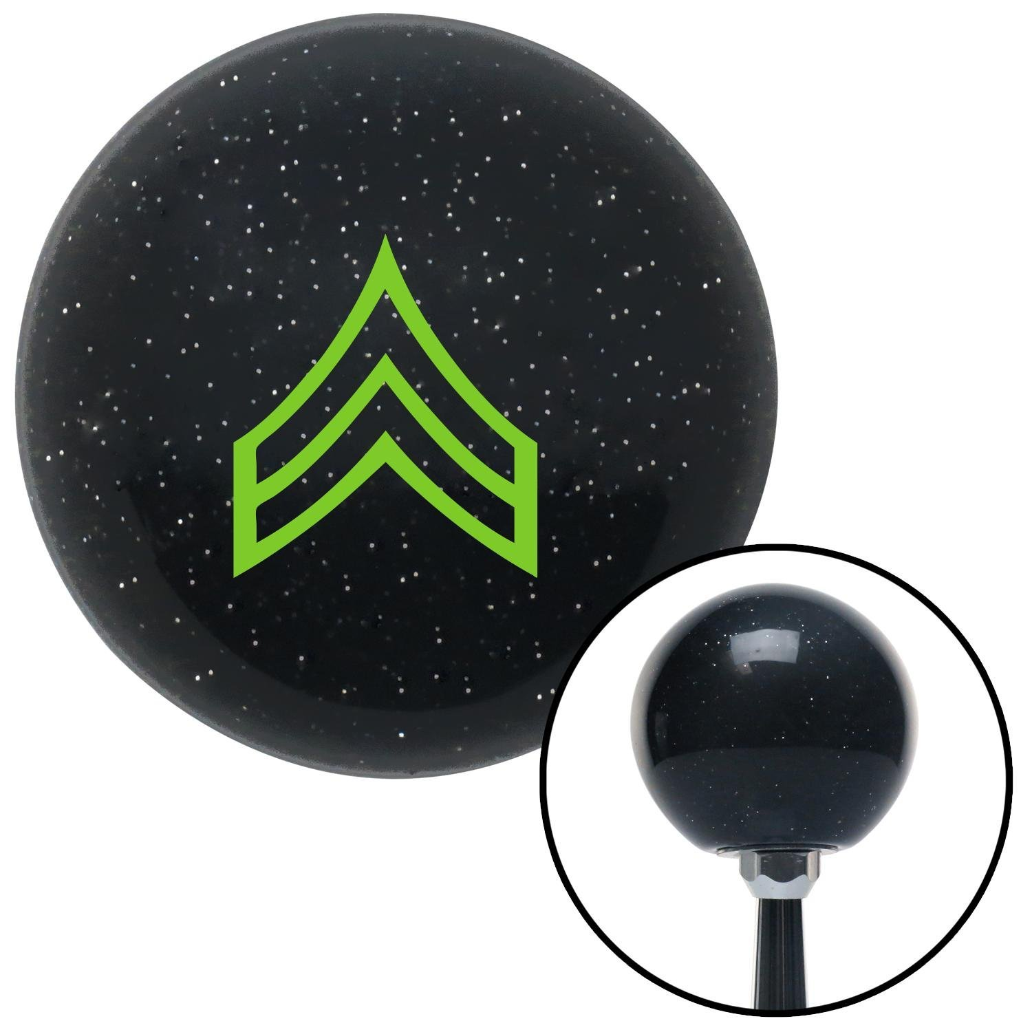 American Shifter 72415 Black Metal Flake Shift Knob with M16 x 1.5 Insert Green Corporal