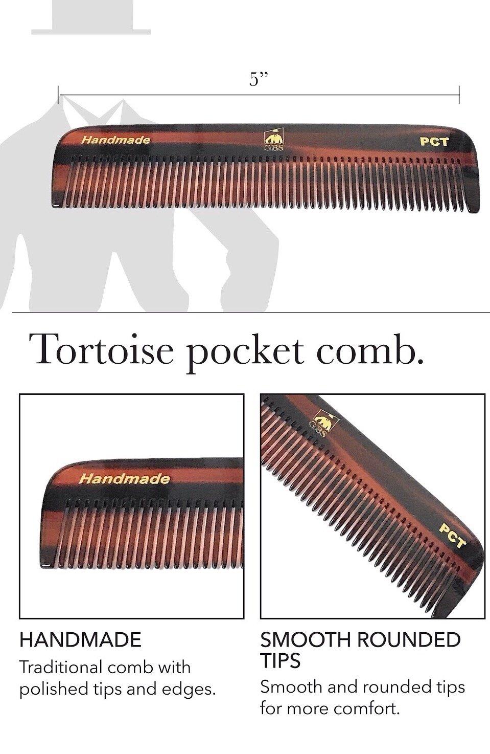 GBS Men's Handmade Anti-Static No Snag Sawcut Teeth Grooming Hair and Beard Comb Set - Dressing Head Comb, All Purpose Folding Comb, Pocket Comb, Mustache Comb All Hair Styles